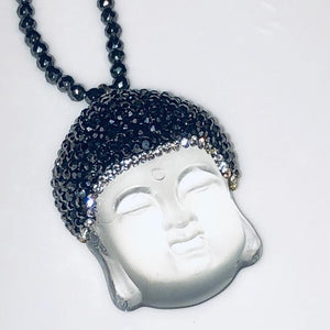 Hematite Necklace with Frosted Quartz Buddha Pendant; 20""