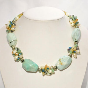 Natural Aquamarine Necklace, Clusters of Crystals and Pearls; 18""