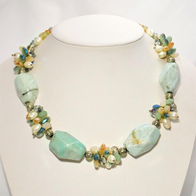 Natural Aquamarine Necklace, Clusters of Crystals and Pearls; 18