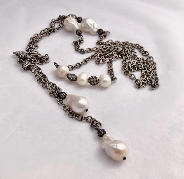 Unique Wraparound Lariat; Oxidized Chain with Pearls; Pave Accent Beads; 57