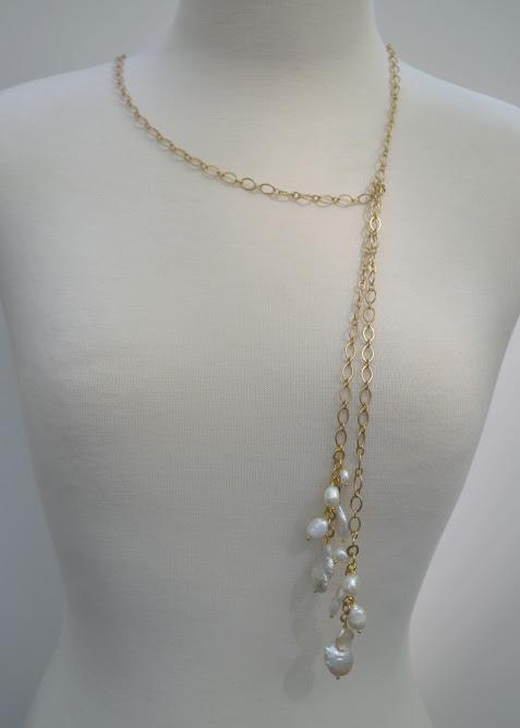 Matte Gold Lariat with Natural Fresh Water Pearls Drops; 36