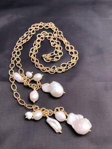 Matte Gold Lariat with Natural Fresh Water Pearls Drops; 36""