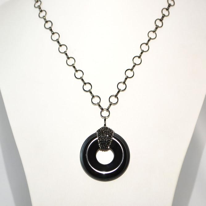 Dramatic Hematite Necklace with A Unique Donut Shape Pendant; 36