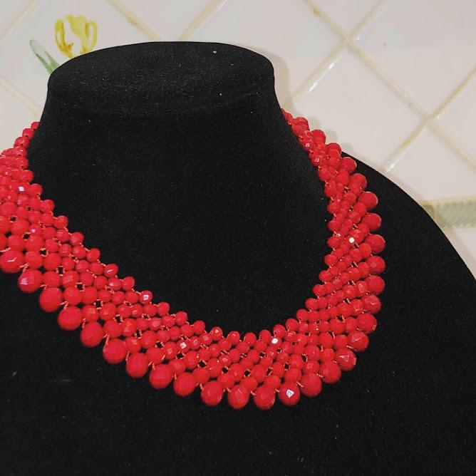 Stunning Red Crystal Statement Choker Necklace; 19