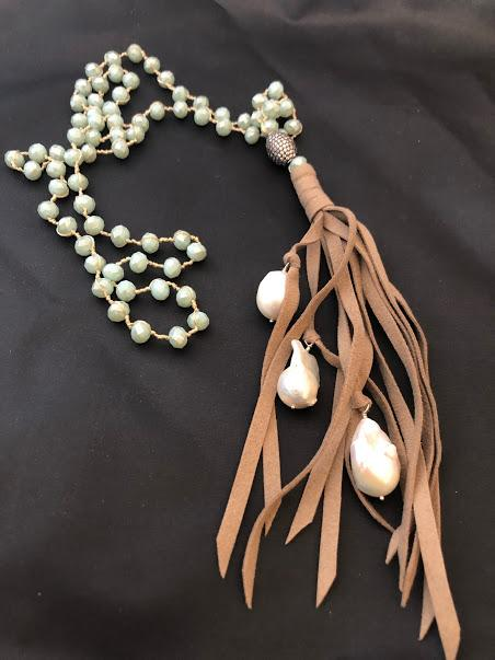 Aqua Crystal Necklace Hand Knotted with Baroque Pearls Has an Ultra Suede Tassel; 45