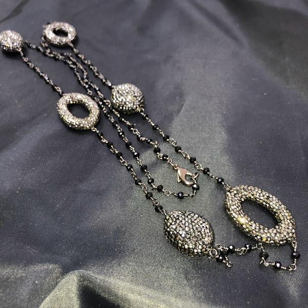 Hematite Rosary Chain with 6 Large Hematite Encrusted Connectors; 38