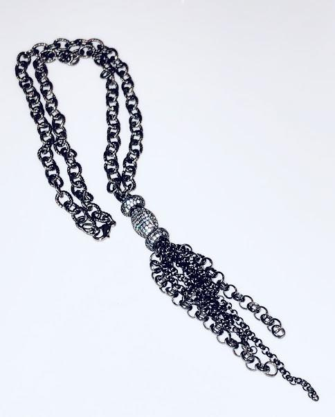 Textured Oxidized Necklace With cubic zirconia Pave Beads and Hematite Chain Tassel; 22