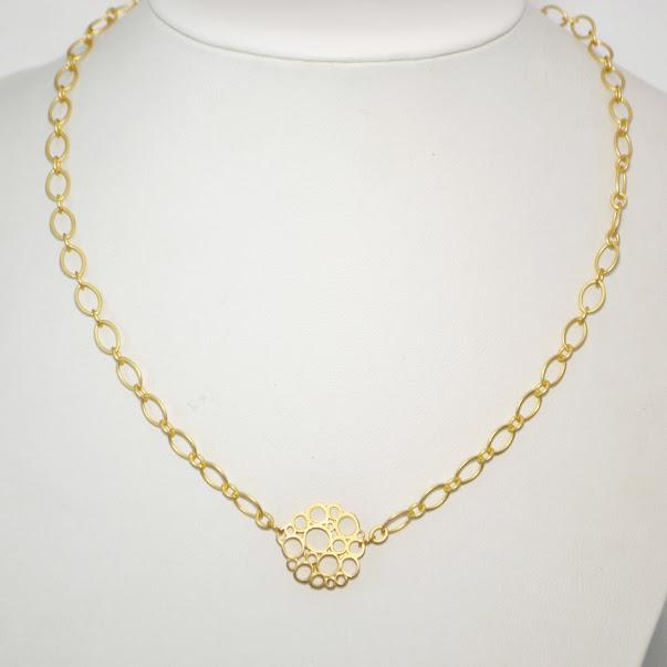 Matte Gold Necklace with Fun Bubble Focal 0.75