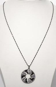 White on Black Inverse Starburst Pendant; Oxidized Italian Sterling Silver Chain; 24""