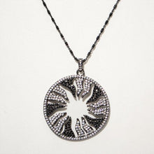 Load image into Gallery viewer, White on Black Inverse Starburst Pendant; Oxidized Italian Sterling Silver Chain; 24""