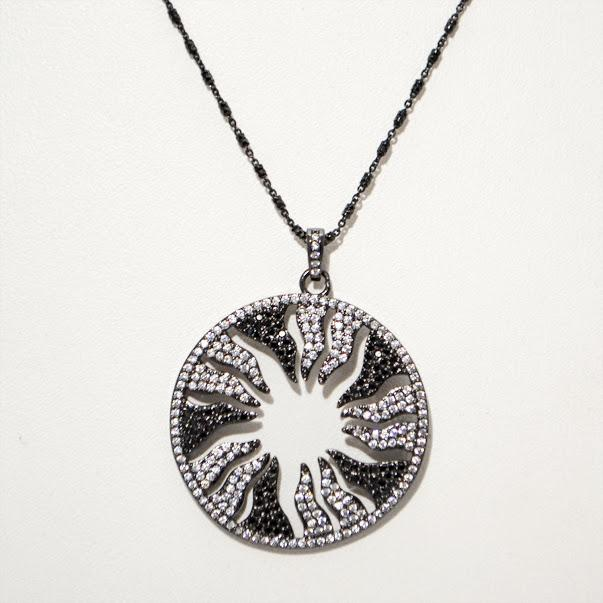 White on Black Inverse Starburst Pendant; Oxidized Italian Sterling Silver Chain; 24