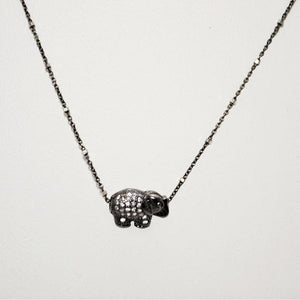 Dainty Sterling Silver Chain with A Pave Filled Miniature Elephant Focal; 18""