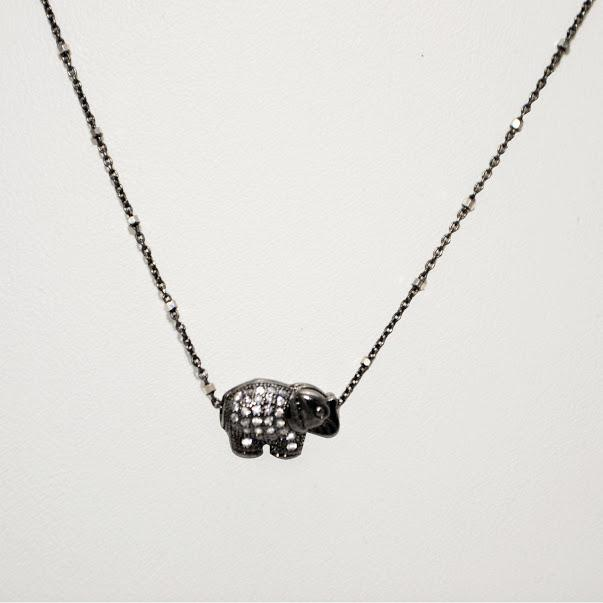 Dainty Sterling Silver Chain with A Pave Filled Miniature Elephant Focal; 18