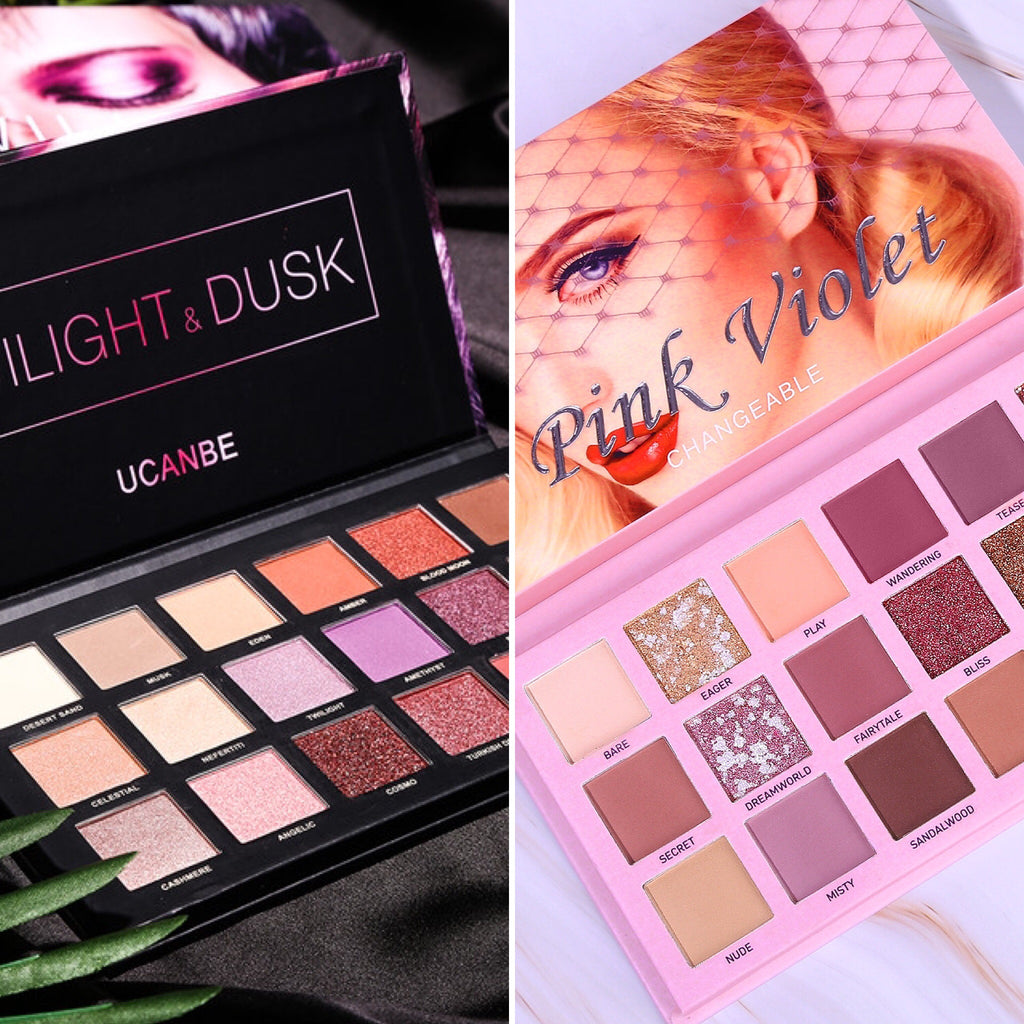 left twilight & dusk palette and right pink palette