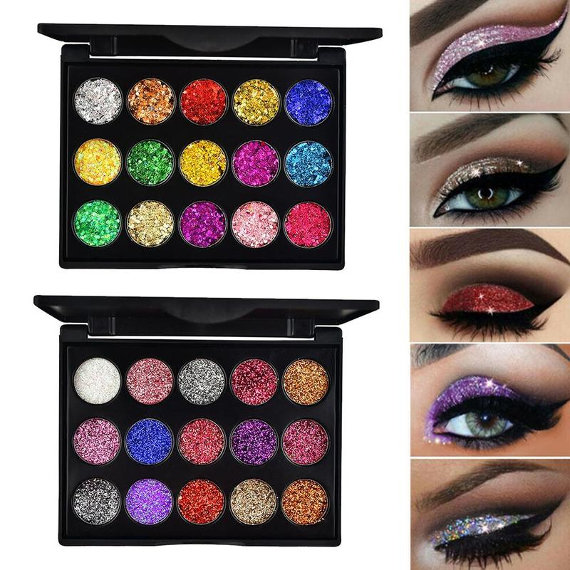 two bright glitter eyeshadow palettes
