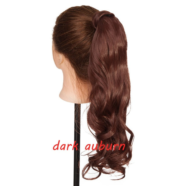 "s-noilite 23"" Long Curly Clip In Hair Tail False Hair Ponytail Hairpiece With Hairpins Synthetic Hair Pony Tail Hair Extension"