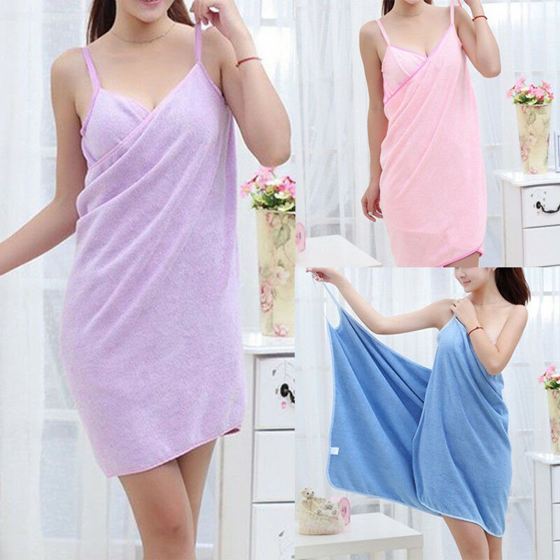 robe towel blue pink and purple