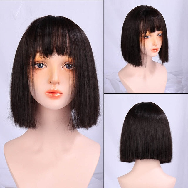 SHANGKE Short Wavy Wigs for  Synthetic Hair Purple Wigs with Bangs Heat Resistant Cosplay Wig