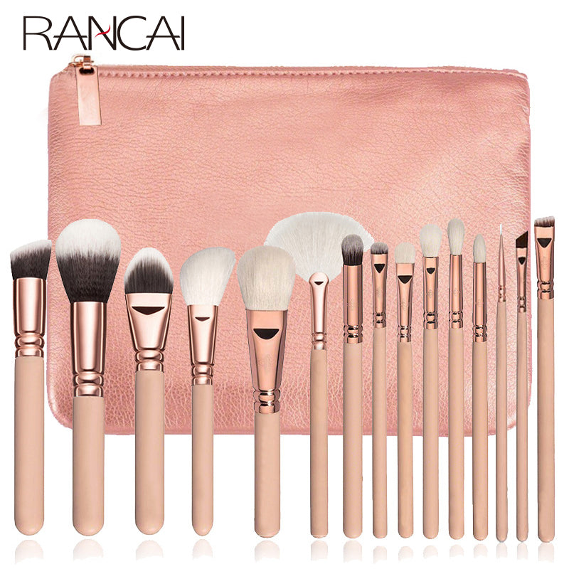 pink makeup brush set with bag