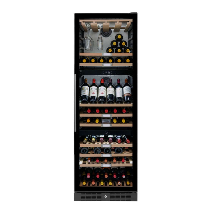 Caple WF1551 - Tall Freestanding Triple Zone Black Wine Cooler