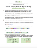 How to Simplify, Add and Subtract Radicals