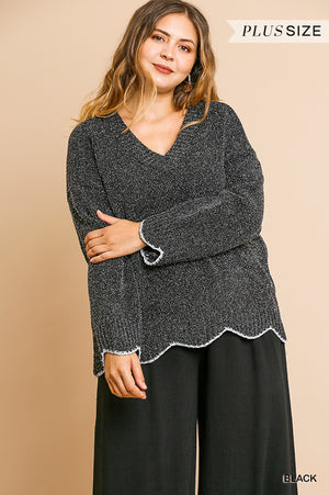 Open image in slideshow, Scallop Hem Sweater