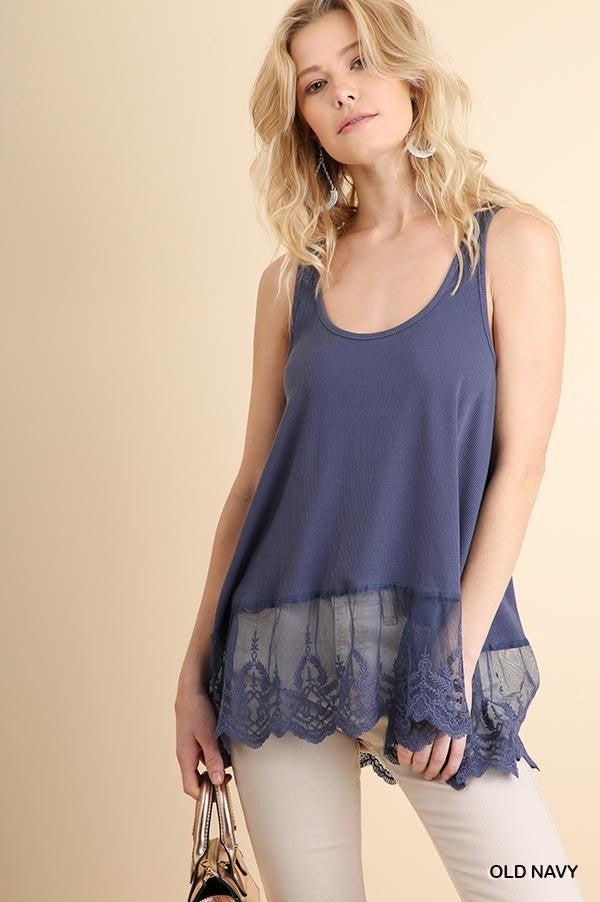 Umgee Ribbed Tank With Lace Trim
