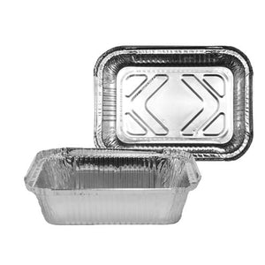 Chef Elite - Oblong Aluminum Containers (500 units) - 18cm x 13.5cm x 4.5cm - 1.5 lbs - 10 g