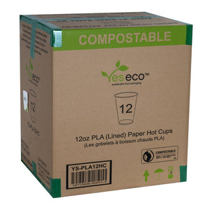 12OZ PLA (LINED) HOT CUPS - 1000 units