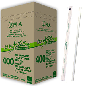 "Compostable Wrapped PLA Straws (2400 units) - 8"" - Translucent"