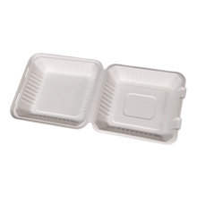 Load image into Gallery viewer, 8x8 Bagasse Clamshell - 1 sleeve/200, 1 sleeve/50