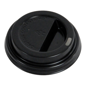 80mm Black Dome PS Hot Lids - 1000 Pcs