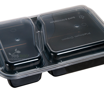 32oz Rectangular Compartment Plastic Containers with Lids - 150 Pcs