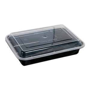 38oz Rectangular Plastic Containers with Lids - 150 Pcs