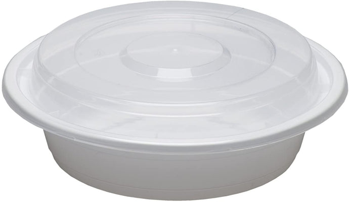 48oz White Round Plastic Containers with Lids - 150 Pcs