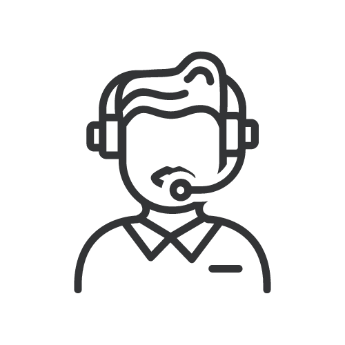 Outline of a Male Wearing a Telephone Headset to Depict Service Excellence