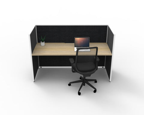 SHUSH30 Workstation - 1 Person - Screen Hung Top - Oak