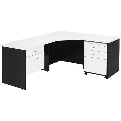 Logan Corner Workstation - White/Ironstone (All Sizes)