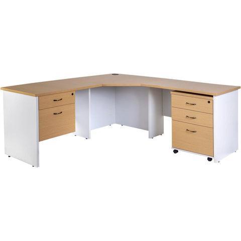 Logan Corner Workstation 1800mm (With Optional Bundle) - Oak/White