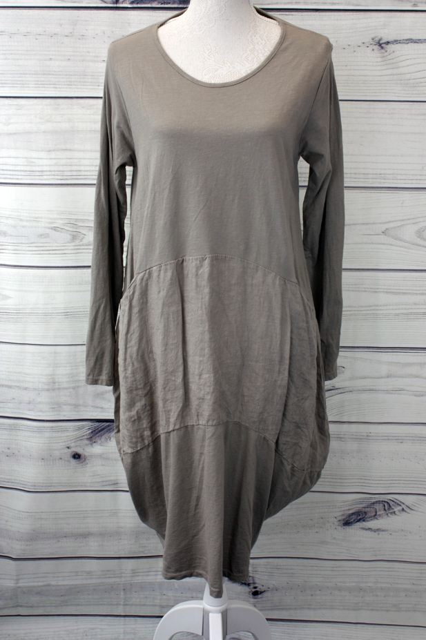 Plain Cotton Dress - Mocha