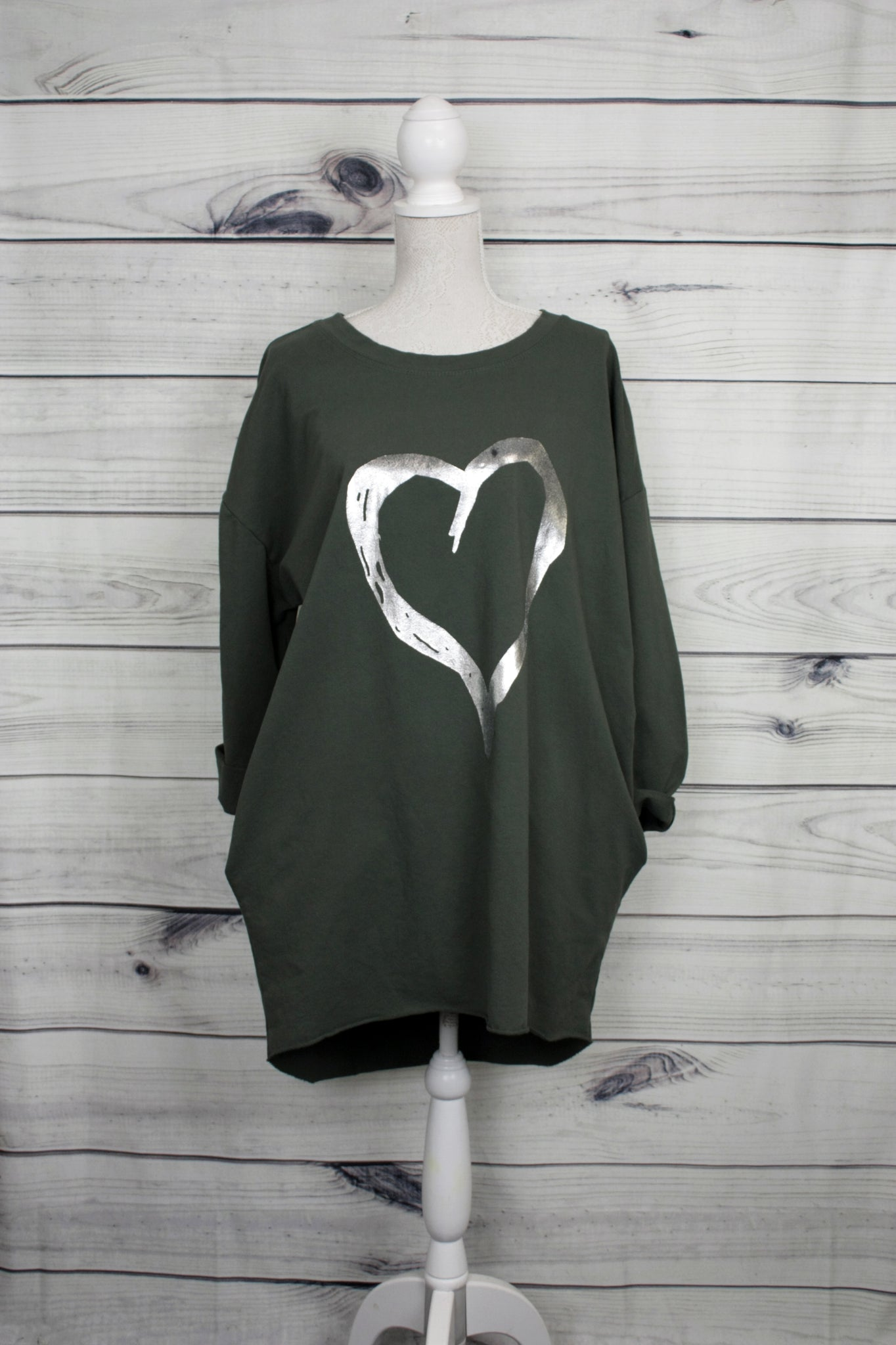 Heart Print Cotton Tunic With Pockets  - more colours available