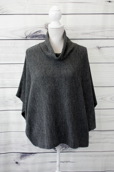 High Neck Plain Poncho Top - more colours available