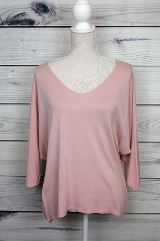 V-Neck Fine Knit Top - more colours available