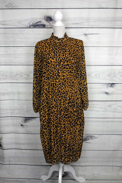 Pleated Leopard Print Dress - more colours available