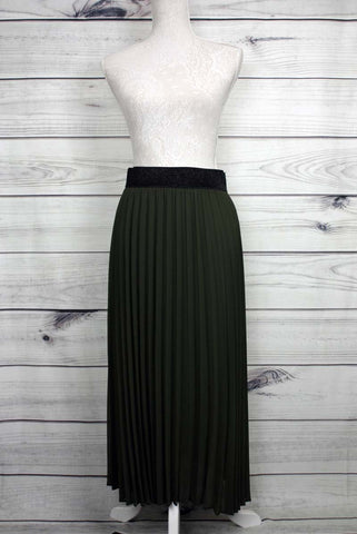 Pleated Glitter Waistband Midi Skirt - Khaki