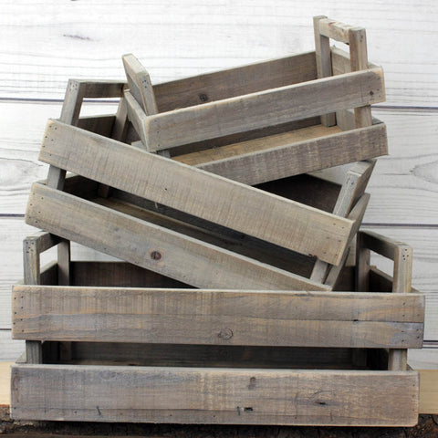 Set of Three Handled Rustic Wooden Boxes