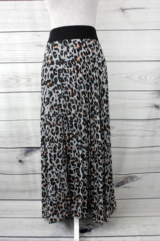 Leopard Print Pleated Maxi Skirt - more colours available