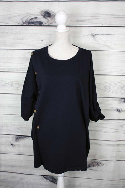 Italian Button Detail Top - more colours available