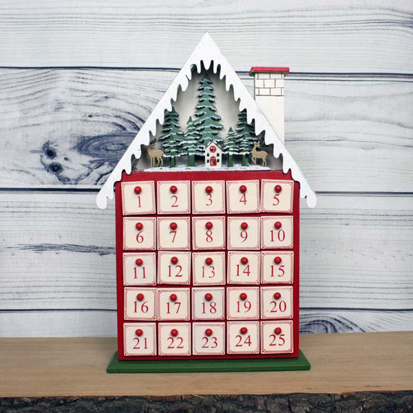House Advent Calendar with Lights - Red