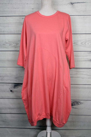 Two Pocket Jersey Dress - Coral